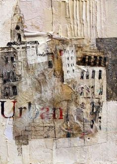 This is a textured mixed media collage, using text and drawings.