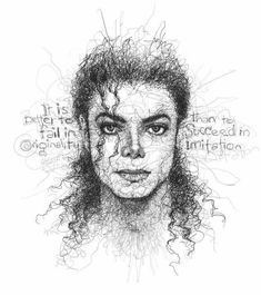 Artwork by Vince Low Realistic Drawings, Cute Drawings, Pencil Drawings, Michael Jackson Drawings, Michael Jackson Art, Arte Black, Scribble Art, Art Sketches, Painting & Drawing