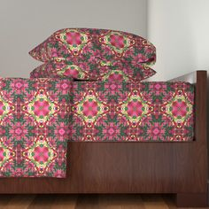 Langshan Sheet Set featuring Pink and Burgundy Lilies Abstract by linda_baysinger_peck | Roostery Home Decor