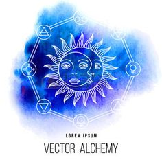 mystic moon: Vector geometric alchemy symbol with eye, sun, moon, shapes and abstract occult and mystic signs. Linear logo and spiritual design. Concept of imagination, magic, creativity, religion, astrology