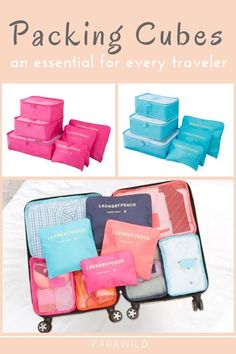 Packing Cubes - an essential for every traveler! Organize by outfit or by type of clothing Works in a backpack, hard side, or soft side luggage Nylon material will compress your clothing slightly and help keep out moisture. Packing Cubes, Packing Tips For Travel, Travel Advice, Packing Hacks, Travel Guides, Cheap Travel, Budget Travel, Travel 2017, Student Travel