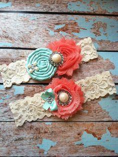 Wedding garter SET / Tiffany blue / Coral  / wedding garters/ bridal  garter/  lace garter / toss garter / vintage lace garter