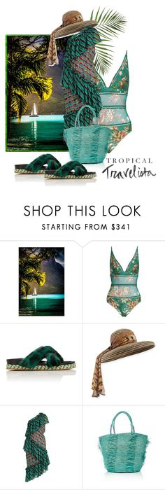 """""""Tropical Travelista"""" by the-house-of-kasin ❤ liked on Polyvore featuring Frontgate, Zimmermann, Mr & Mrs Italy, Kokin, Marco de Vincenzo, Sensi Studio, floral, stripes, animalprint and tropicalprints"""