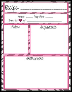 Free Fillable Recipe Card Template Fresh Mesa S Place Full Page Recipe Templates [free Printables] Recipe Template For Word, Recipe Book Templates, Binder Templates, Printable Recipe Cards, Printable Planner, Free Printables, Templates Free, Card Templates, Cookbook Template