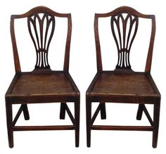 Pair of 19th C English Fruitwood Plank Seat Side Chairs