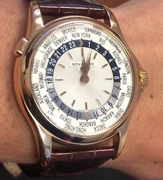 Patek Philippe Ref. 5110 World Time Pink Gold offered in Antiquorum's June 22 auction in New York. Estimate: $18,000 - $28,000. Details: http://www.antiquorum.com/catalog/lots/patek-philippe-ref-5110r-lot-307-170?page=1&q=170. For further information call (212) 750-1103 or email clientadvisory@antiquorum.com