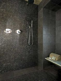 5 Ways to Make Bathroom Tile Combinations : Gorgeous Bathroom Design With Dark Mosaic Wall Tiles And Stainless Shower Faucet Combine With Wall Mounted Bathroom Bench