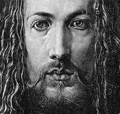 Albrecht Durer, painter, engraver, Renaissance man. Self-portait, (1500). Engraved, apparently by Paul Krey, Leipzig (circa 1885); cropped from the original scan (2008)