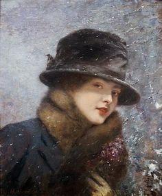 Henri Gervex (1852-1929), Jeune femme au bouquet de violettes sous la neige