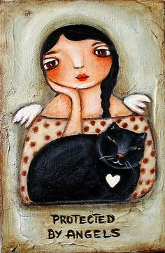 "Buy '""Angel Doll w/ White Cat""' by GraceG as a Greeting Card I Love Cats, Crazy Cats, She And Her Cat, Black Cat Art, Black Cats, I Believe In Angels, Angel Art, Cats And Kittens, Folk Art"