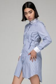 Stripe shirt dress with side strap buckle