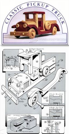 Wooden Toy Pickup Truck Plans - Wooden Toy Plans and Projects | WoodArchivist.com #woodentoy