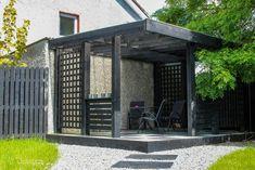 Black Garden Pavilion and Step Stones. Garden Pavilion, Black Garden, Outdoor Rooms, Garden Landscaping, Gazebo, Garden Design, Stones, Outdoor Structures, Landscape