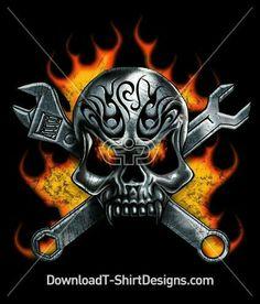 Biker Tattoos, Skull Tattoos, Body Art Tattoos, Piston Tattoo, Mechanic Tattoo, Skull Artwork, Skull Drawings, Totenkopf Tattoos, Skull Pictures