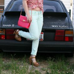 Thrift and Shout blog thrifted #Izod top #Target #mint jeans #Goodwill shoes and purse