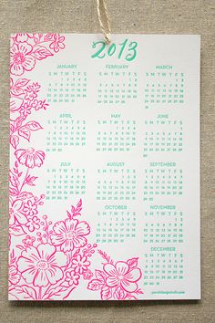 2013 Letterpress Calendar with neon pink and mint green ink!