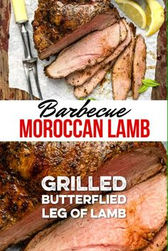 A Moroccan lamb marinade brings so much flavour to this BBQ boneless leg of lamb! Using butterflied lamb speeds up grilling time and the boneless meat is incredibly succulent and easy to carve. Grilled Leg Of Lamb, Bbq Lamb, Grilled Food, Lamb Steak Recipes, Meat Recipes, Dinner Recipes, Cooking Recipes, Barbecue Recipes, Gastronomia