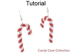 Beaded Candy Cane Necklace Bracelet Earrings Downloadble Beading Pattern Tutorial Instructions