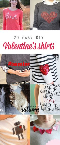 20 easy DIY Valentine's day shirts, sweaters, and tee. Easy tutorials for how to make a valentines day t-shirt. No sew. My Funny Valentine, Valentines Day Shirts, Valentine Day Crafts, Love Valentines, Printable Valentine, Diy Valentine's Shirts, Shirt Diy, Diy Clothing, Sewing Clothes
