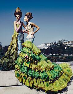 """Jean Paul Gaultier spring 2002 Haute Couture for """"Festival of the Senses,"""" Vogue Deutsch April 2002"""