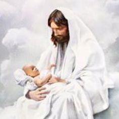Jesus cuddling baby