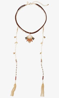 Mixed Stone Choker And Lariat Necklace from EXPRESS