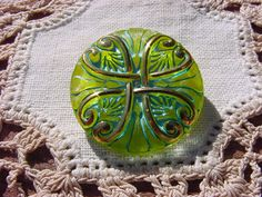 Golden Lime Turquoise Wash Intricate Pattern by vintagebeadnut (Craft Supplies & Tools, Sewing & Needlecraft Supplies, Buttons & Fasteners, Buttons, vintagebeadnut, glass buttons, czech buttons, czech glass button, vintage style, molded buttons, collectible buttons, art nouveau, gold golden, flower floral, turquoise wash, intricate pattern, lime green)