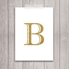 Gold Letter B Art - 5x7