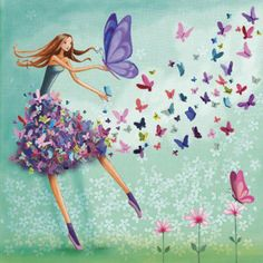 Girl with butterflies artist illustration by www.MilaMarquis.com and www.Facebook.com/MilaMarquisillustration