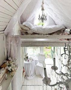 Mom cave - whitewashed - loft bed - shabby chic