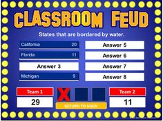 Classroom Feud Powerpoint Template - Plays Like Family Feud intended for Family Feud Game Template For Teachers 56013 School Games, School Fun, School Stuff, School Ideas, Class Games, Teaching Technology, Educational Technology, Assistive Technology, Business Technology