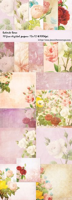 Free Printable Redoute Rose Digital Scrapbooking Papers from Free Pretty Things For You and Jennifer Scraps