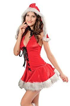 Lukis Damen Weihnachten Neckholder Kostüm Cosplay Dessous Minirock (Rot)