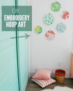 "Looking to make some sweet DIY artwork for your kids room, nursery, or elsewhere in your home? This DIY embroidery hoop art is super easy and looks great! Full ""how to"" tutorial on the blog. - via the sweetest digs"