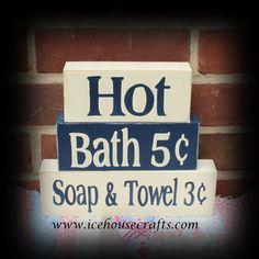 Hot Baths Word Blocks-word blocks, sitter blocks, stacker blocks, bathroom decor, powder room, painted, signs,