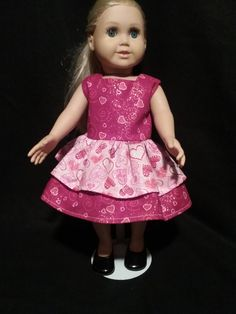 """18"""" Doll  Dress, AG Doll Dress, Pink, Red and White Heart  Doll  Dress, 18"""" Doll Clothes, American Girl Doll Clothes by SBCreationsfromHeart on Etsy"""