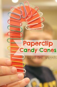 Paperclip Candy Canes for fine motor skills! Also can be used for color matching skills, counting, patterns, etc!!