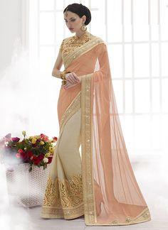 Designer Sarees online shopping in USA UK Canada|Buy Tenuous Light Rust Chiffon On Due Drop Net Saree