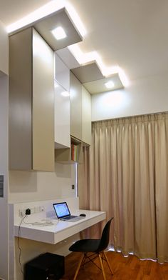 Four-Level Terrace House with Modern and Stylish Touch: Square Hidden Lamps Cream Curtain Black Chair Wooden FLoor