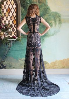 Back Details: Claire Pettibone Romantique 'Cheyenne' wedding dress (Black) at #TheCastle