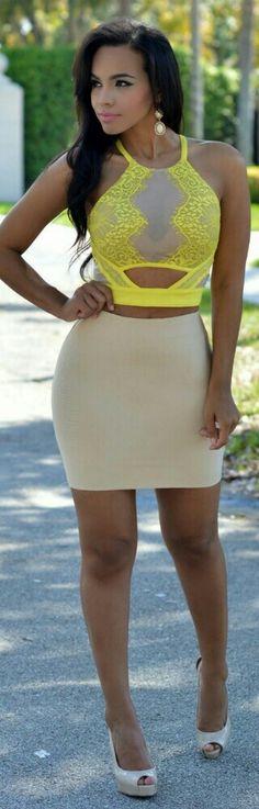 Aubrey Nude Elastic Body-Con Mini Skirt / Chic Couture