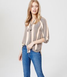 Primary Image of Striped Tie Neck Blouse