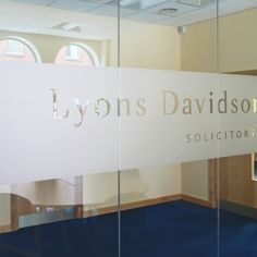 Company logo on glass