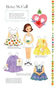 Free Vintage Printable Betsy McCall Valentines Day Paper Doll