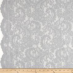 Amelia Stretch Lace Warm Grey from @fabricdotcom  This beautiful lace fabric is perfect for tops, overlays, accents and lingerie. It features a slight stretch and scalloped borders along both selvedges.