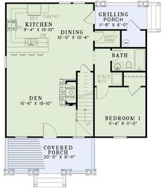 Cottage Style House Plan - 3 Beds 2 Baths 1379 Sq/Ft Plan #17-2451 Floor Plan - Main Floor Plan - Houseplans.com