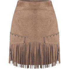SheIn(sheinside) Camel Slim Tassel Bead Skirt ($14) ❤ liked on Polyvore featuring skirts, bottoms, shein, camel, short a line skirt, short brown skirt, short skirts, beaded skirt and camel skirt