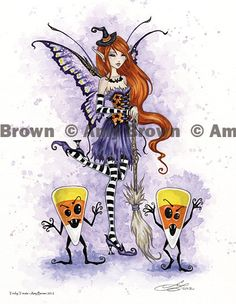 Halloween Tricky Treats Fairy print by Amy Brown. $14.00, via Etsy.