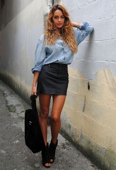 denim shirt + leather mini skirt +open toe ankle boots