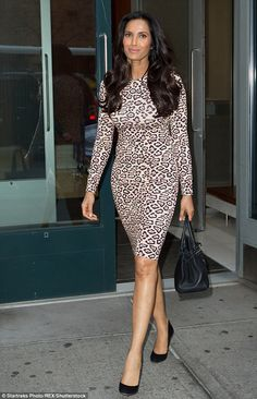 Purr-fection: Padma Lakshmi headed out in New York on Thursday to continue to promote her new memoir